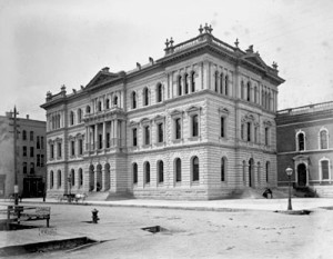 Cook County Criminal Court Building at Dearborn and Hubbard Streets, 1874-1892, built by Armstrong & Egan.